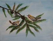 Bird Prints Paintings - Golden Crowned Kinglets by Leslie Allen