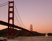 The Twin Towers Prints - Golden Gate Bridge at Sunset Print by Jeff Lowe
