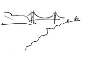 San Francisco Bay Drawings Prints - Golden Gate Bridge Print by Patrick Morgan