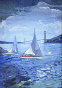 Golden Gate Drawings Posters - Golden Gate Bridge Sailors Poster by Graciela Placak