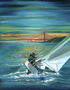 Golden Gate Drawings Posters - Golden Gate Sunset Sailors Poster by Graciela Placak