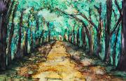 Dirt Road Paintings - Golden Path by Tara Thelen