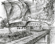 Florida Drawings - Golf Cart Bridge by Jim Hubbard