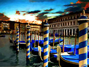 Overcast Day Painting Posters - Gondolas Under A Summer Sunset Poster by Jann Paxton