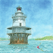 New England Lighthouse Painting Prints - Goose Rocks Light at High Tide Print by Dominic White