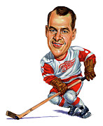 Ice Hockey Painting Prints - Gordie Howe Print by Art