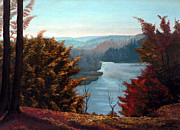 Fall Prints Paintings - Grand River Look-out by Otto Werner