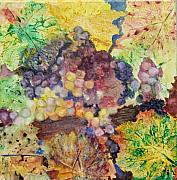 Grapes Painting Posters - Grapes and Leaves II Poster by Karen Fleschler