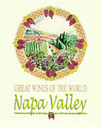 Wine Illustrations Digital Art Prints - Great Wines Of The World -Napa Valley Print by John Keaton