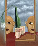 Surrealistic Paintings - Green bottle Agony surrealistic artwork with crying heads cut cups flowing red wine or blood frame   by Rachel Hershkovitz