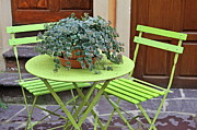 Saorge Framed Prints - Green chairs and table with plant in pot Framed Print by Sami Sarkis