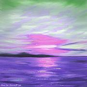 Sunsets Original Paintings - Green Skies and Purple Seas Sunset by Gina De Gorna