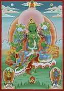  Mineral Painting Acrylic Prints - Green Tara with Retinue Acrylic Print by Sergey Noskov