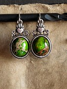 Red Earrings Jewelry Framed Prints - Green Turqoise Framed Print by Jan  Brieger-Scranton