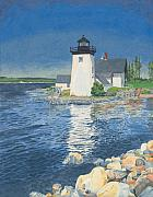 New England Lighthouse Painting Prints - Grindle Point Light Print by Dominic White