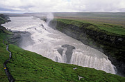 Rivers In The Fall Posters - Gullfoss a powerful waterfall in the canyon of the Hvita river Poster by Sami Sarkis