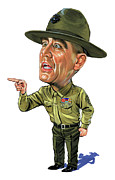 Celebrities Painting Framed Prints - Gunnery Sergeant Hartman Framed Print by Art