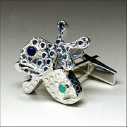 Fish Jewlery Jewelry - Guppy Cufflinks by Beverly Fox