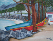Puerto Rico Paintings - Hacia Parque De Colon by Gloria E Barreto-Rodriguez