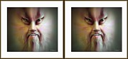 Morphed Metal Prints - Halloween Self Portrait - Gently cross your eyes and focus on the middle image Metal Print by Brian Wallace
