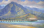 Surf Paintings - Hanalei Pier by Jenifer Prince