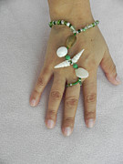 Hand Bracelet In Green by Robin Aitken Hardy