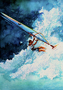 Wind Surfing Art Acrylic Prints - Hang Ten Acrylic Print by Hanne Lore Koehler