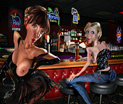 Naughty Digital Art - Hangin out at the Bar by John Huneck