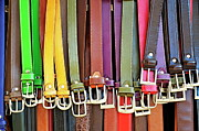 Leather Belt Posters - Hanging colorful leather belts at shop Poster by Sami Sarkis