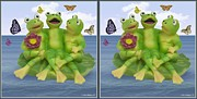 Fluttering Digital Art - Happy Frogs - Gently cross your eyes and focus on the middle image by Brian Wallace