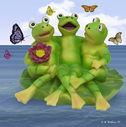 Fluttering Digital Art - Happy Frogs by Brian Wallace