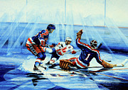 Hockey Painting Framed Prints - He Shoots Framed Print by Hanne Lore Koehler