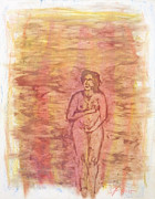 Woman Oil Pastels Nude Originals - Helena Hides Herself by Linda May Jones
