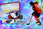Hockey Painting Prints - Henrik Lundqvist Print by Donald Pavlica