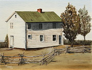 Split Rail Fence Painting Prints - Henry House Print by Alan Mager
