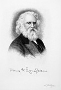 Men Drawings Framed Prints - Henry Wadsworth Longfellow Framed Print by Granger