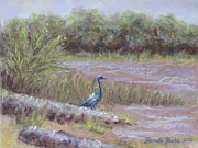 Jordan Painting Posters - Heron at Jordan Lake Poster by Pamela Poole
