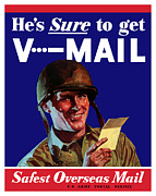 War Propaganda Digital Art Metal Prints - Hes Sure To Get V-Mail Metal Print by War Is Hell Store