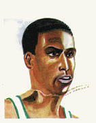 Sports Drawings Prints - Hichan El Guerrouj Print by Emmanuel Baliyanga