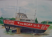 Towboat Framed Prints - High and Dry Framed Print by Bart Dunlap