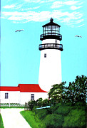 New England Lighthouse Painting Prints - Highland - CC - Lighthouse Painting Print by Frederic Kohli