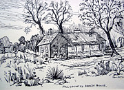 Log Cabin Drawings Prints - Hill Country Ranch House Print by Bill Joseph  Markowski
