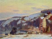 Joseph Delattre - Hillside at Croisset under snow
