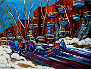 Hockey Painting Prints - Hockey On De Bullion Montreal Print by Carole Spandau