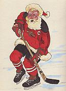 Hockey Drawings Framed Prints - Hockey Santa Framed Print by Todd  Peterson