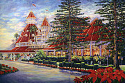 Hotel Del Coronado Metal Prints - Holiday Hotel Metal Print by Coronado Art Gallery
