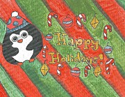 Penguin Drawings - Holiday Penguin by Art by Kids  For Kids