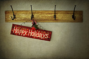 December Prints - Holiday sign on antique plaster wall Print by Sandra Cunningham