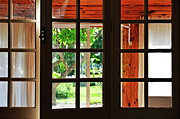 Home Ownership Framed Prints - Home Garden through window Framed Print by Sami Sarkis
