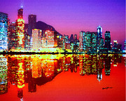 Hong Kong Digital Art Framed Prints - Hong Kong Lit Up Framed Print by Anthony Caruso